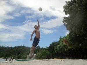 Beach Volleyball. Hey, enjoy the jump and the game, before you get old and lame. Besides, whether you do it alone or for fame, the happiness is all the same.
