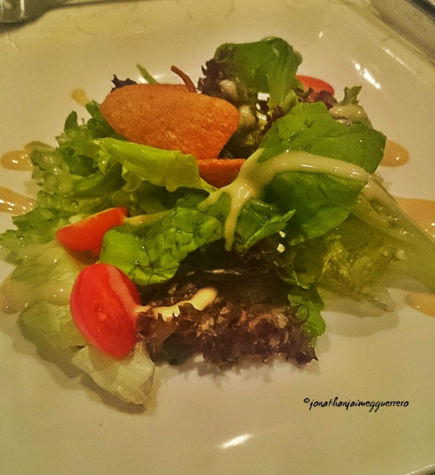 Fresh green salad with honey mustard dressing. Perfect to open your appetite for a five course meal. =) This was during our closing Gala. =)