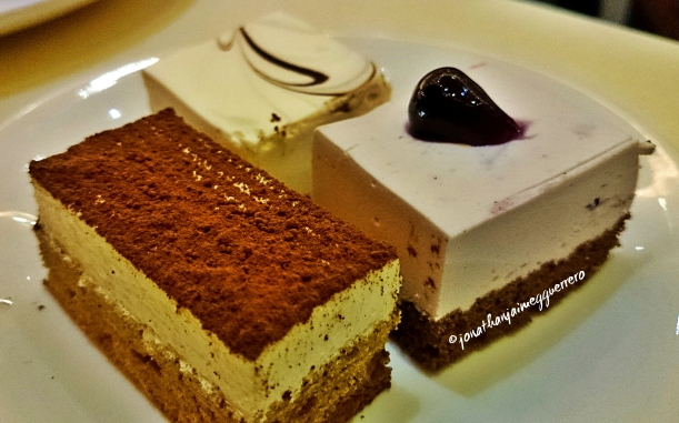 Pastries. Cheesecake, Blueberry cheesecake and chocolate mousse at Buffet 101