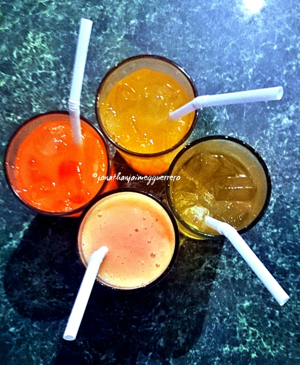 Avariety of juices from Kagay-anon Resto